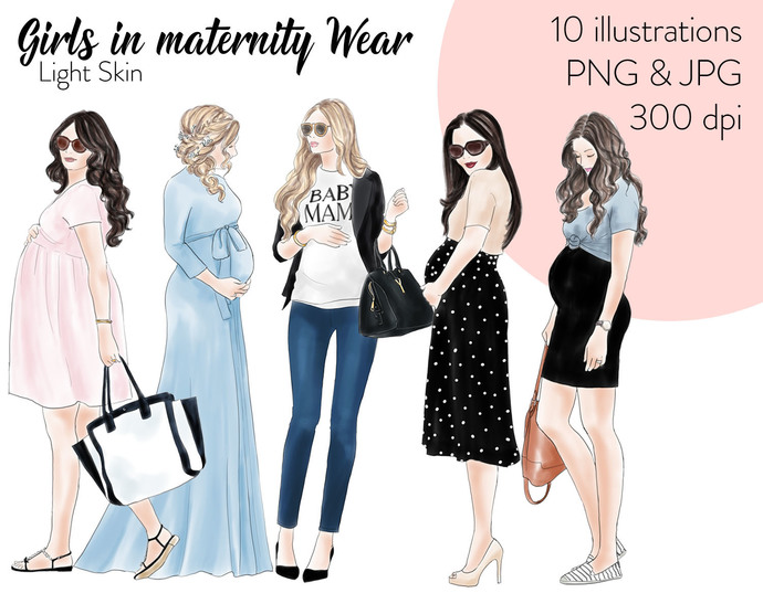 Watercolour fashion illustration clipart - Girls in Maternity Wear - Light skin
