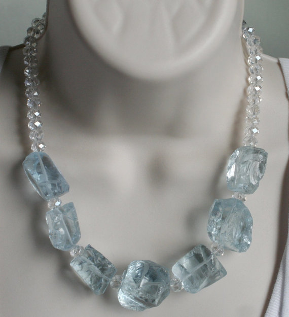 Rough Aquamarine Quartz Statement Necklace, Chunky Blue Crystal Nugget Jewelry,