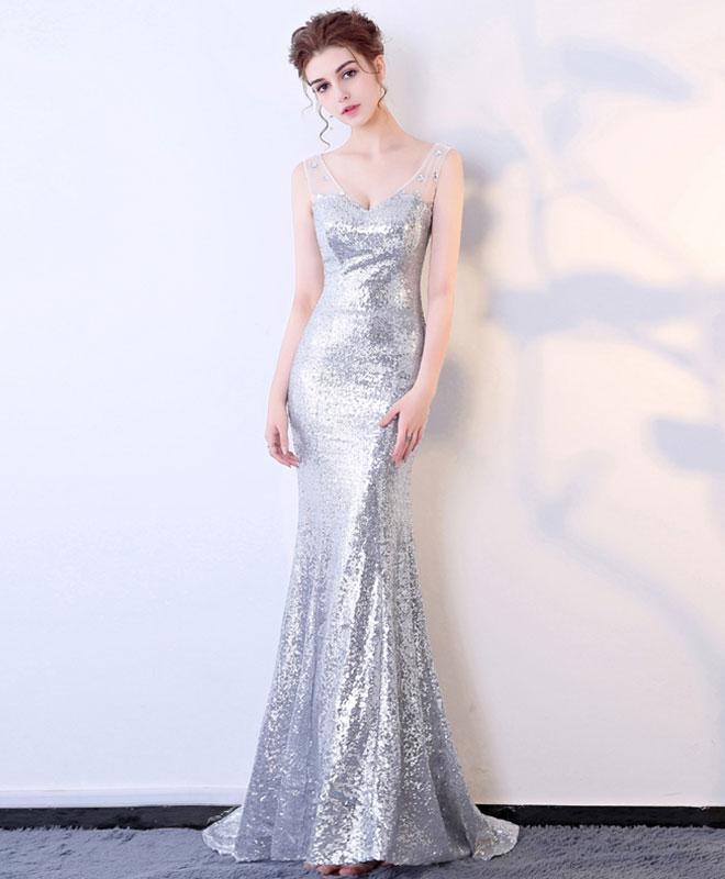 Silver sequins v neck long prom dress, by prom dresses on Zibbet