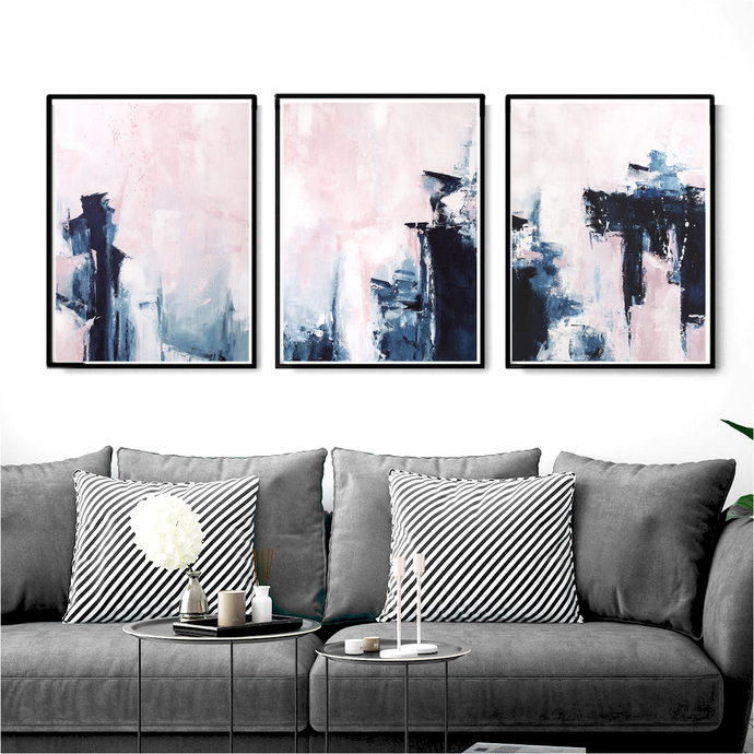 Pink U0026 Navy Blue Triptych Wall Art, Set Of 3 Prints, Abstract 18x24,