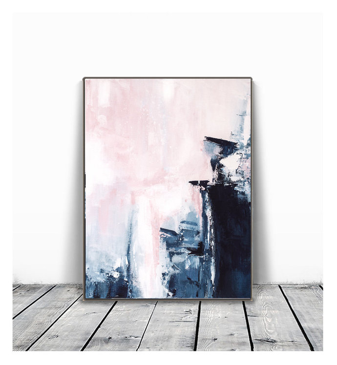Pink & Navy Blue Triptych Wall Art, Set of 3 Prints, abstract 18x24, Digital