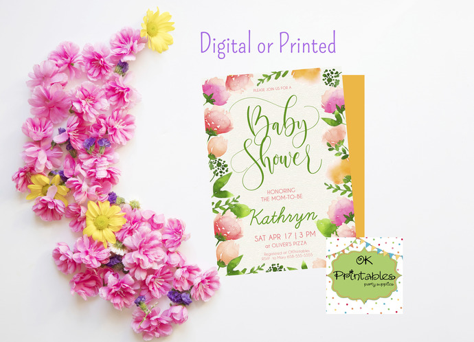 Baby Shower party invitation- Baby Shower Invite- Floral 2 - Digital or printed-