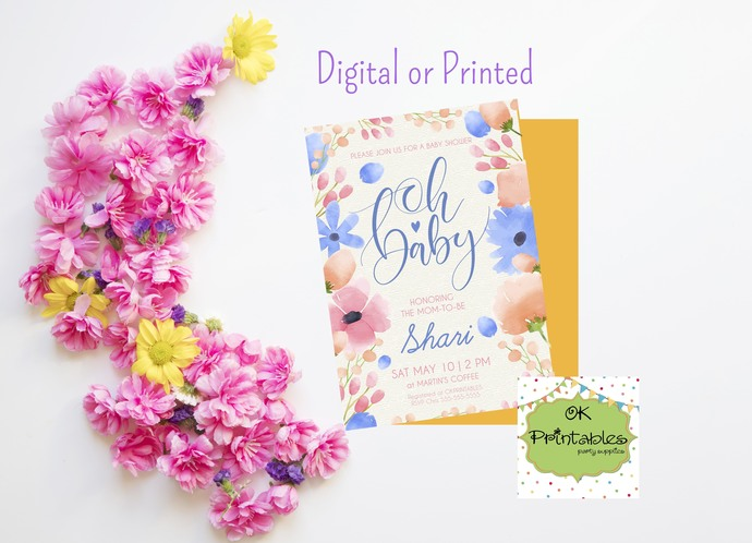 Baby Shower party invitation- Baby Shower Invite- Floral 3 - Digital or printed-