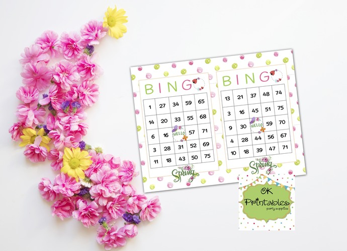 60 Hello Spring Bingo cards - Printable Game Spring - Instant download