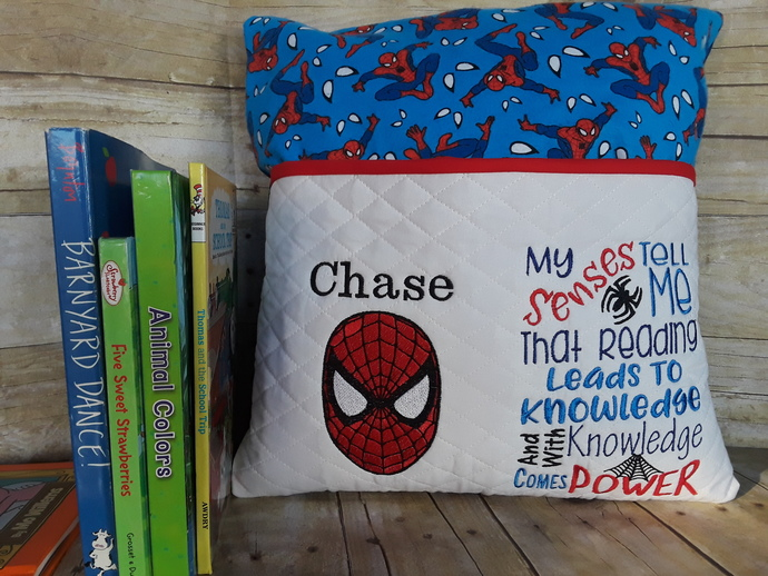 Spiderman Reading Pillow, Book Pillow, Pocket Pillow, Boy Reading Pillow, Gift