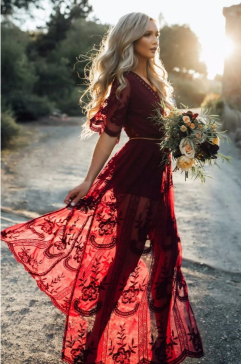 5c56123363ee Sexy Burgundy Wedding Dress, Boho Beach Wedding Dress, Burgundy Charming  Lace