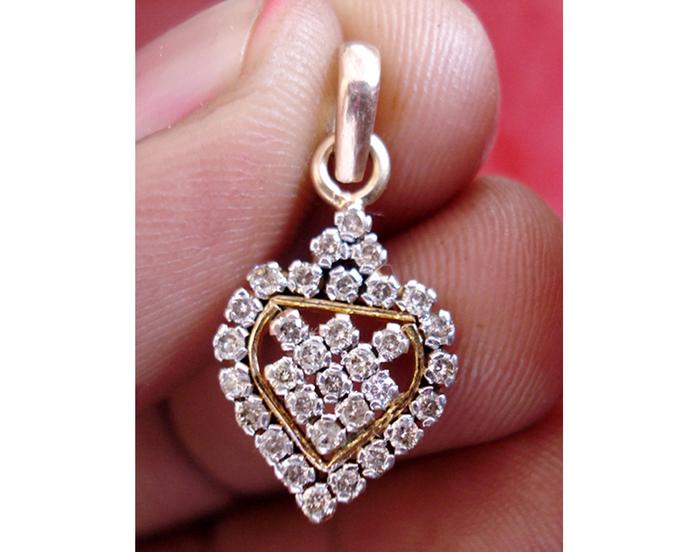 14k Gold Diamond Pendant Engagement By Vinita Jewels Llp On Zibbet