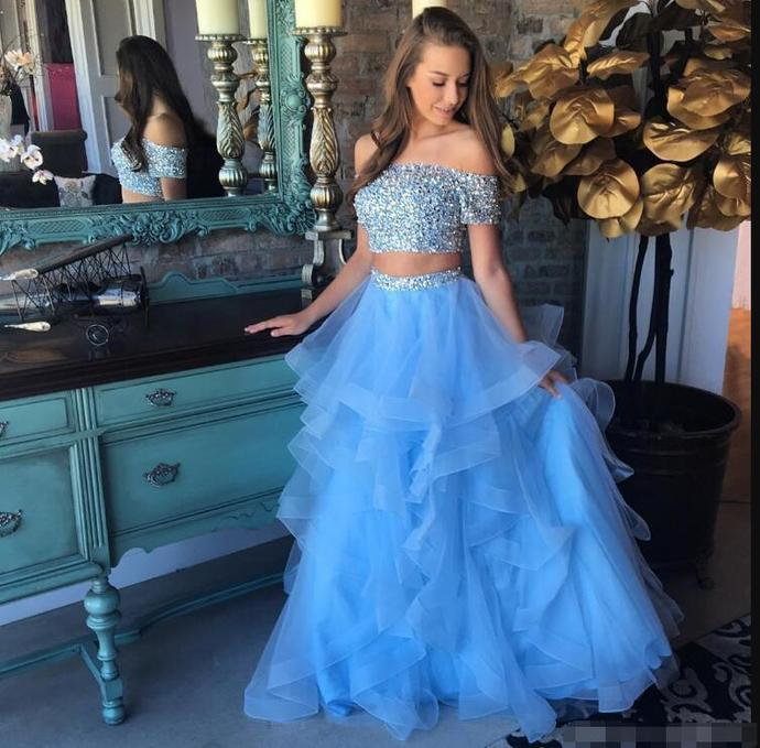 79a41cd7e7 Sky Blue 2 Piece Prom Dresses Off Shoulder Short Sleeve Beaded Tulle Layers