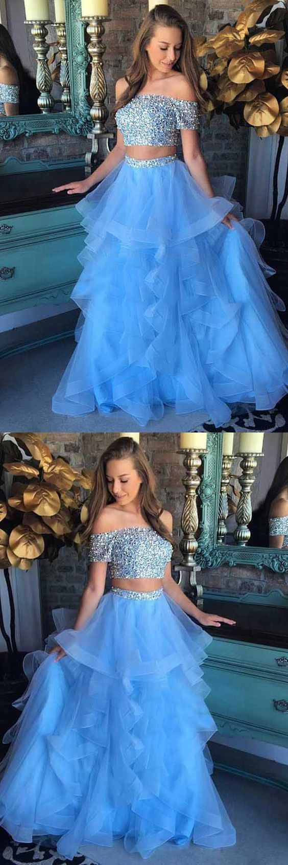 Sky Blue 2 Piece Prom Dresses Off Shoulder Short Sleeve Beaded Tulle Layers