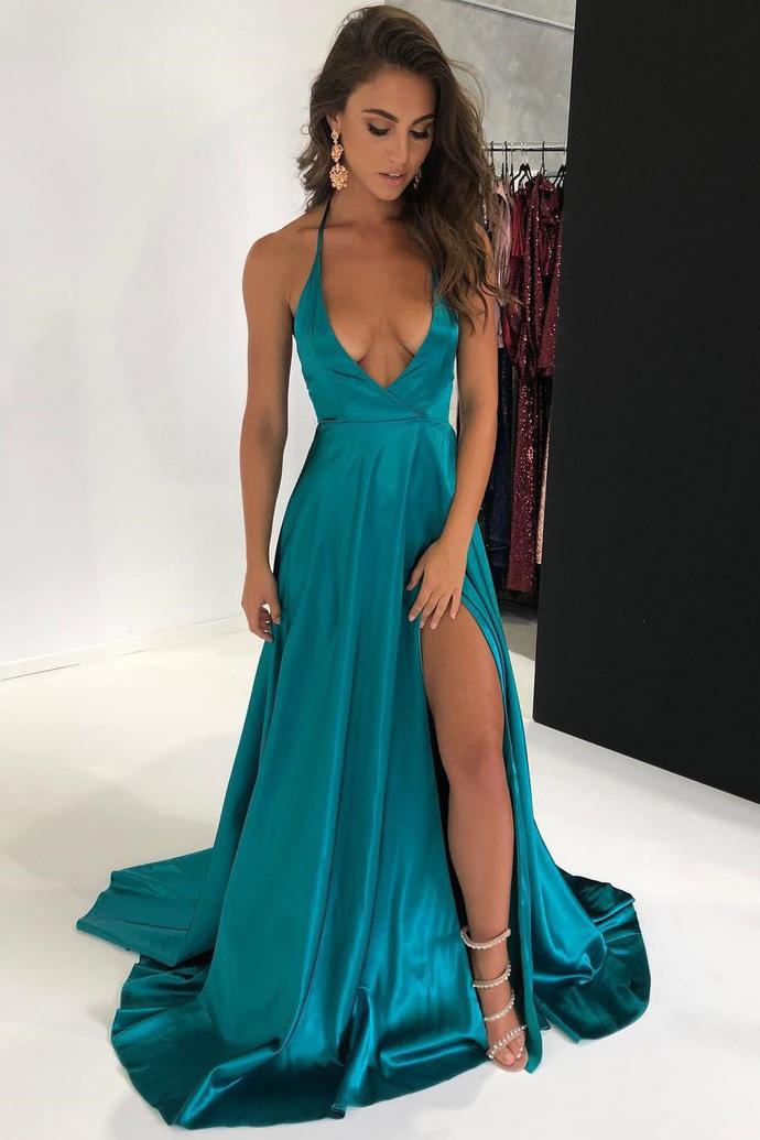 bee6646c335 2018 Sexy Hunter Green Prom Dress