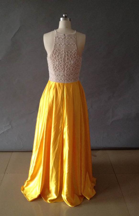 Stylish High Neck Pearls Long Prom Dress 2018,Yellow Shiny Satin Prom