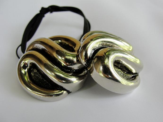 Swirls of Silver Ponytail Holder
