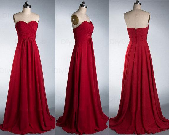 Elegant A Line Floor Length Burgundy Chiffon Bridesmaid Dresses,Sweetheart Dark