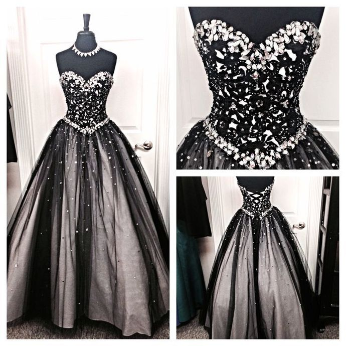 Black White Tulle Long Evening Prom Gowns,Sweetheart Beaded Bodice Quinceanera