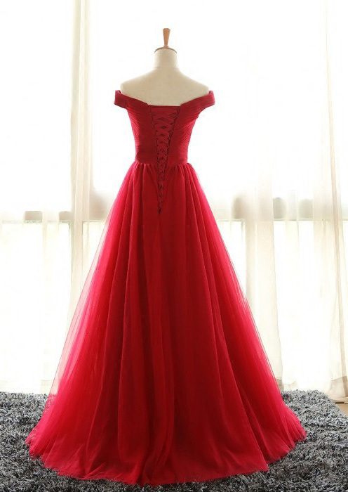 Off the Shoulder Prom Dresses, Red Prom Dress, A Line Evening Dresses, Pleated