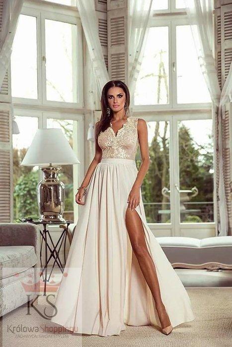 Chiffon Lace Evening Dress with Slit V Neck Evening Dress with Slit