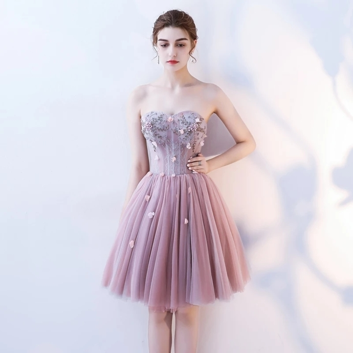 H51 Sweetheart Appliques Short/Mini Homecoming Dress Pretty A-Line Homecoming