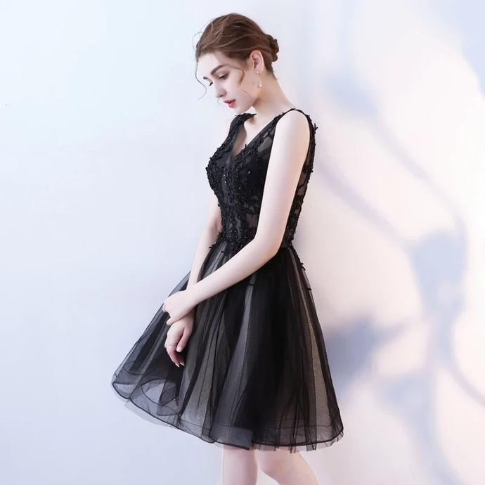 H52 Black Pretty Short/Mini Homecoming Dress Pretty A-Line Homecoming