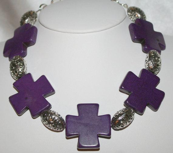 Chunky Turquoise Cross Statement Necklace, Cowgirl Purple Choker Jewelry, Big