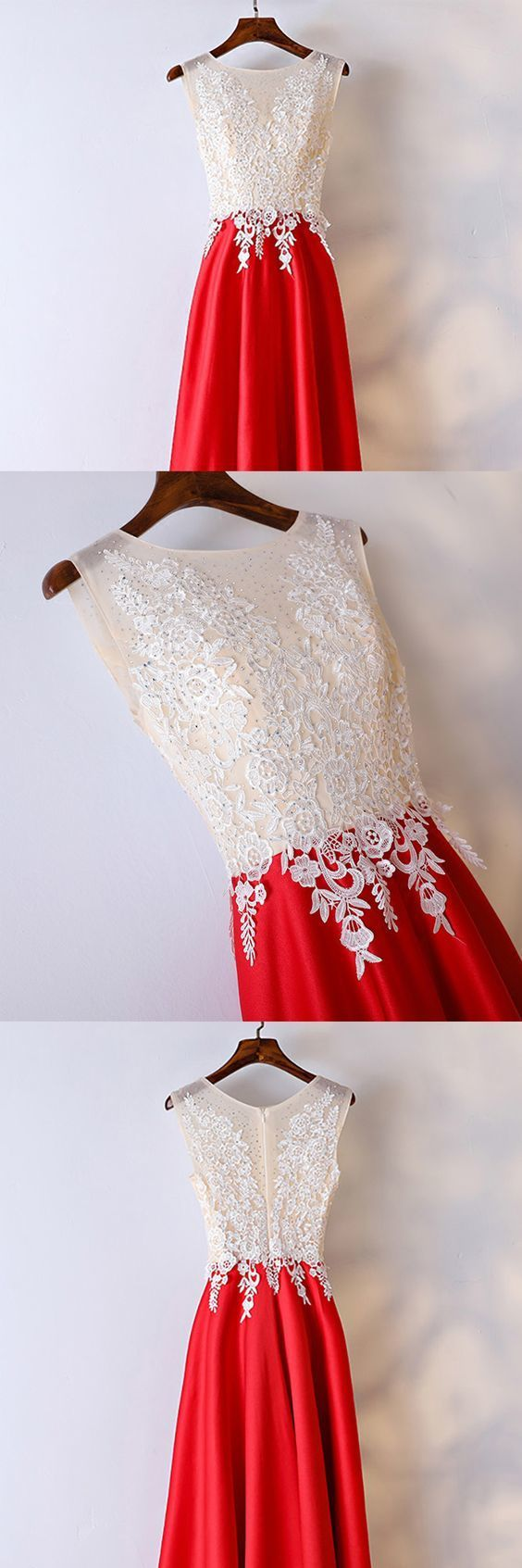 White And Red Lace Long Formal Dress For Women Prom Dresses