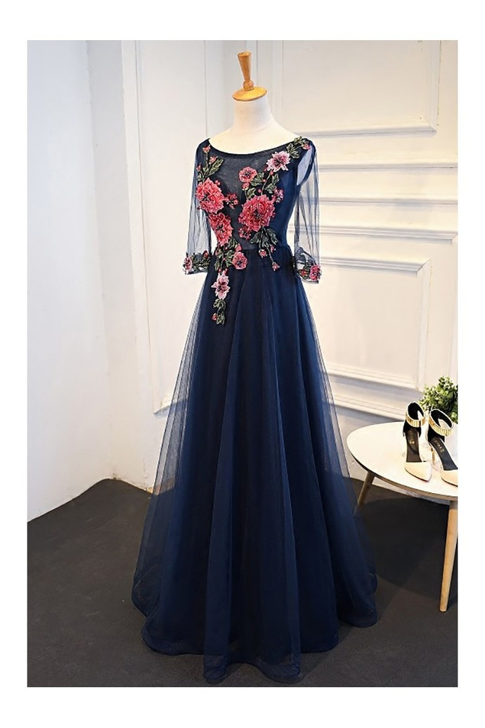 Uniuqe Navy Blue Long Tulle Prom Dress 3/4 Sleeves | dresses