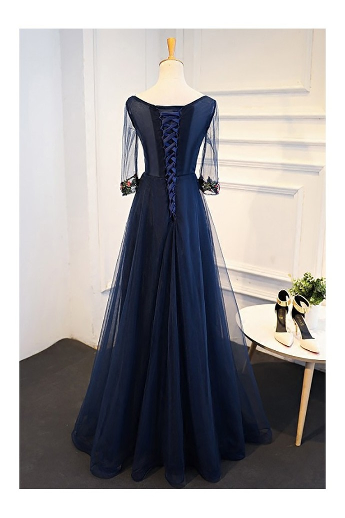 Uniuqe Navy Blue Long Tulle Prom Dress 3/4 Sleeves With Flowers Prom Dresses