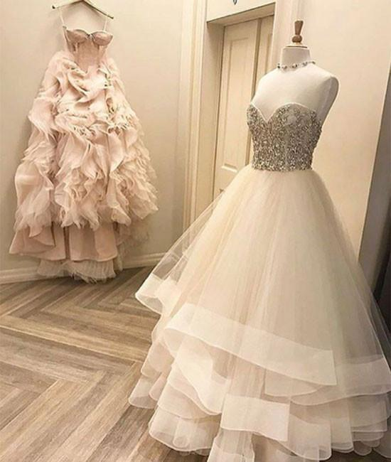 Romantic Wedding Dress,Tulle Wedding Dress,Sweetheart Wedding Dress,Beading Prom