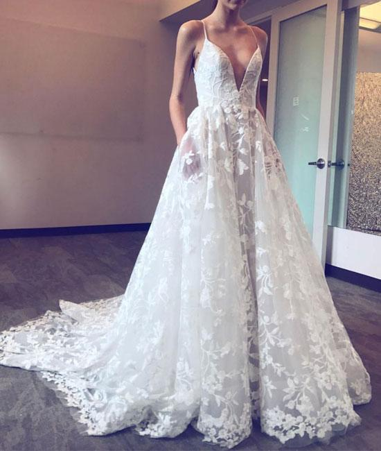 Romantic Wedding Dress,Lace Wedding Dress,Spaghetti Straps Wedding Dress,A-Line