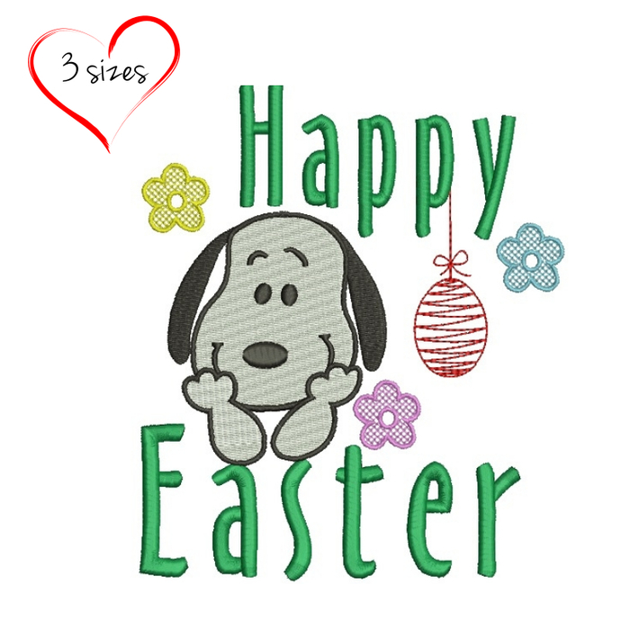 Snoopy machine embroidery designs easter egg design instant digital download