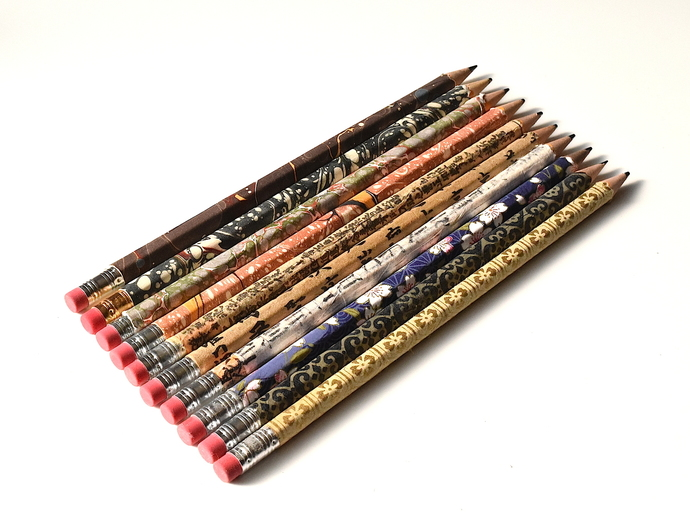 Set of Ten Covered Pencils