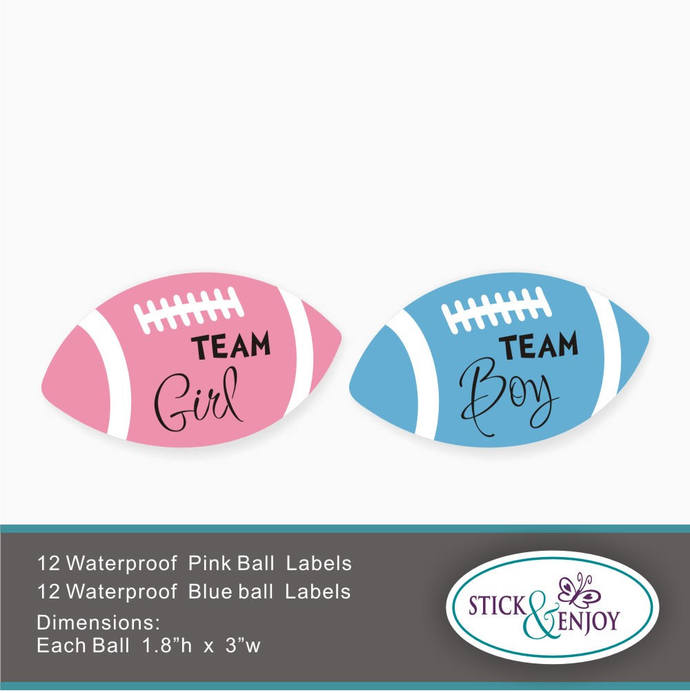 24 Gender Reveal Party Stickers, Football  Team  Girl and  Team boy  Labels.