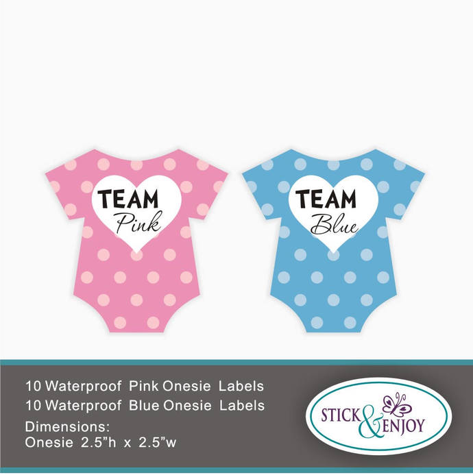 20 Gender Reveal Party Stickers, Team Blue and Team Pink Labels. Baby Bodysuit,
