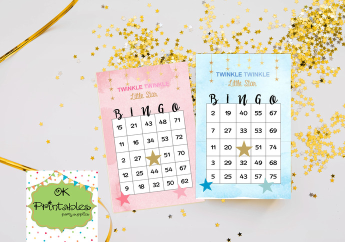 100 Twinkle Twinkle Little Star Bingo cards - Printable Game Baby Shower - Pink