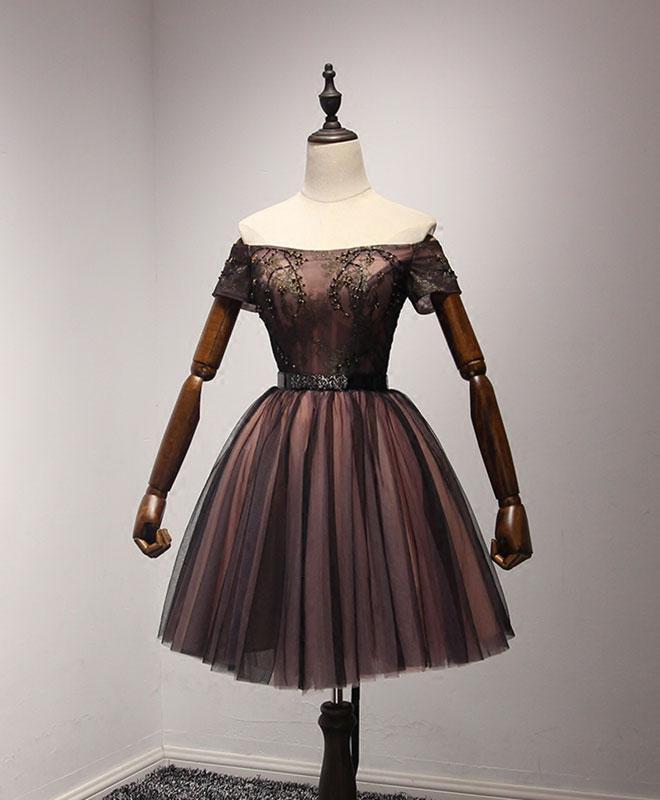 54742c6975 Cute black tulle lace short prom dress