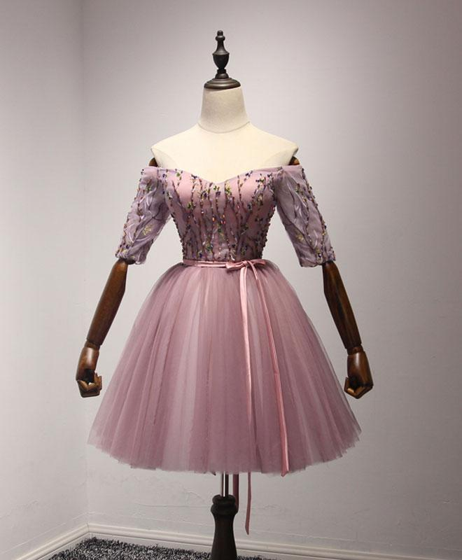 Cute pink tulle lace short prom dress, by prom dresses on Zibbet