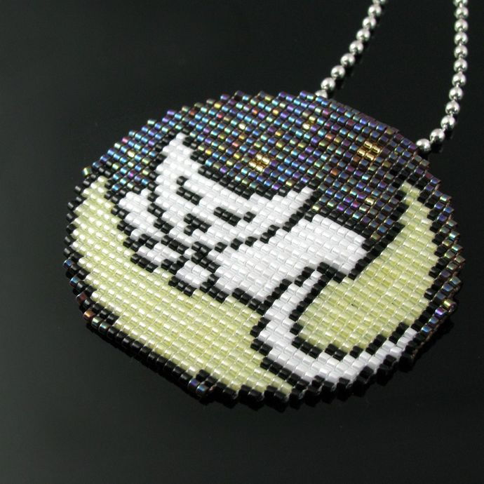 Bead loomed Luna Cat on the Moon pendant - A HeatherCat