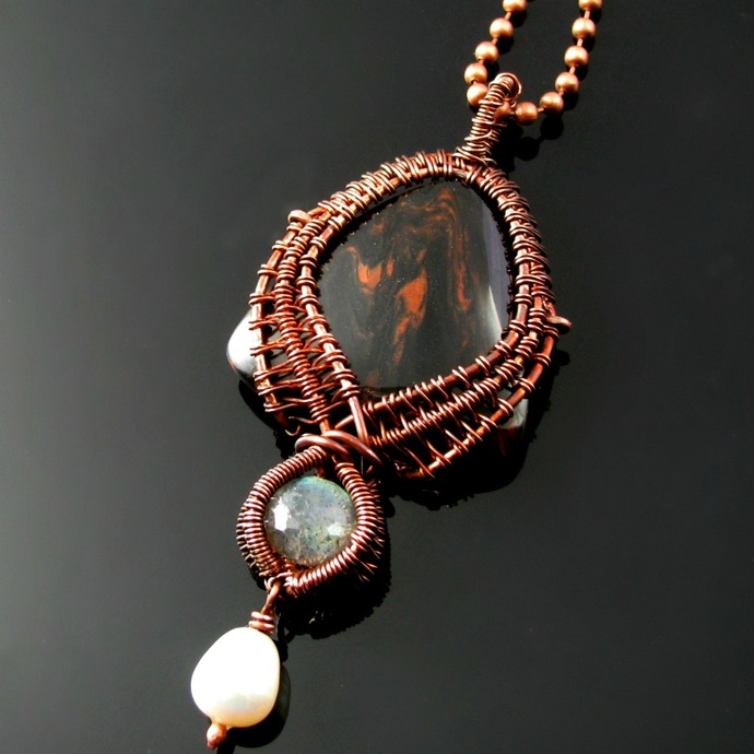 Wire woven pendant with mahogany obsidian and labradorite
