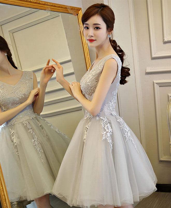 Gray v neck lace tulle short prom dress 89cb2600f