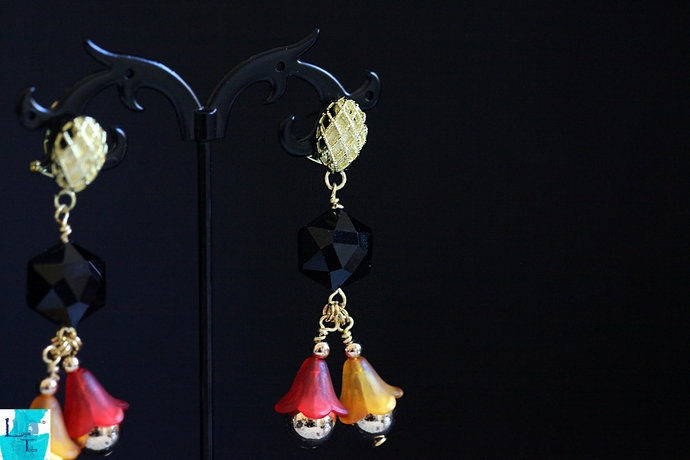 Black Red and Yellow Lucite Flower Earrings