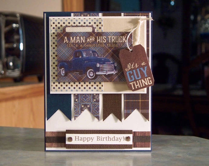 Handmade masculine birthday card a man by whimsy art cards on zibbet handmade masculine birthday card a man and his truck its a guy thing tag bookmarktalkfo Images
