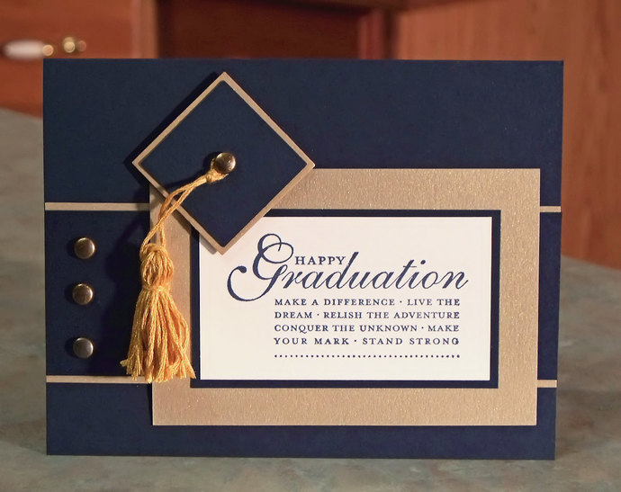"Handmade Stampin Up Happy Grad, Cap and Tassel Graduation Card - 4.25"" x 5.5"" -"
