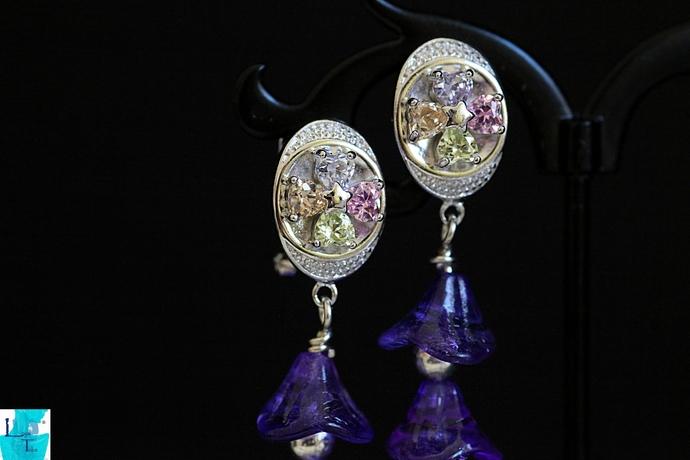 Purple Tower Earrings
