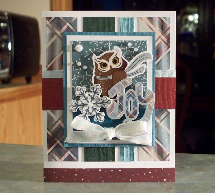 Handmade Christmas Card, Die-Cut Owl, Joy Word & Snowflake - Winter and Nature