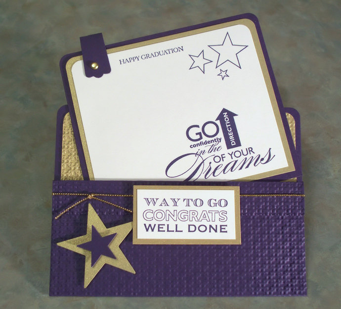 """Handmade Graduation Card using Stampin Up Starring You - 5.5"""" x 4.25"""" - Gift"""