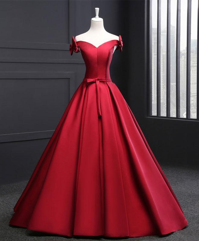 High Quality Burgundy V Neck Satin Long Prom By Prom Dresses On Zibbet