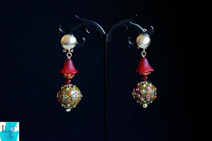 Red and Gold Decorated Indonesian Bead Ball Earrings