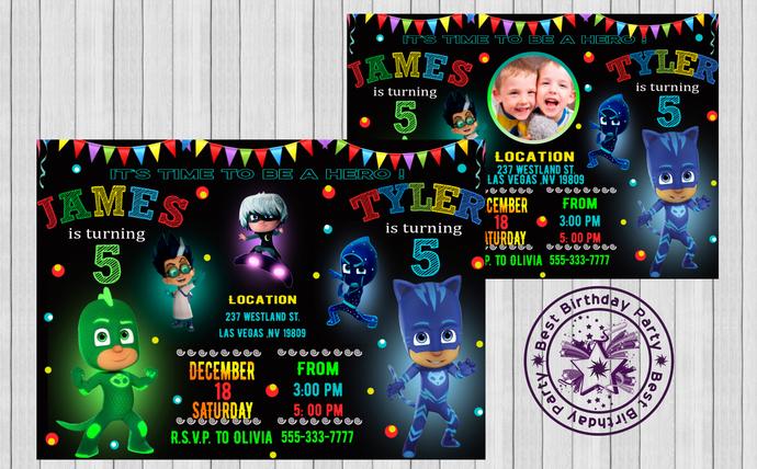 Pj Masks Twins Birthday Invitation Pj By BestBirthdayParty On Zibbet - Pj masks invitation template free