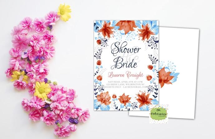 Bridal Shower party invitation- Bridal Shower Invite- Floral 1 - Digital or