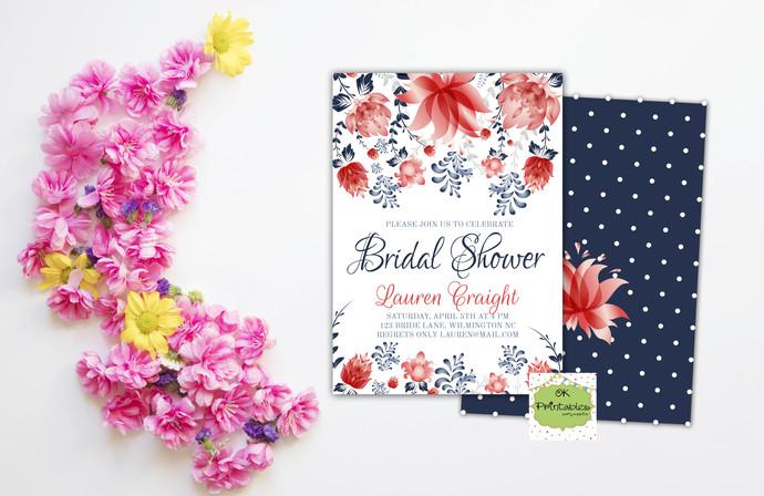 Bridal Shower party invitation- Bridal Shower Invite- Floral 3 - Digital or