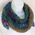 "Shawlette ""Wine Country"" crocheted in Teal Burgundy Gold striped sparkle yarn"